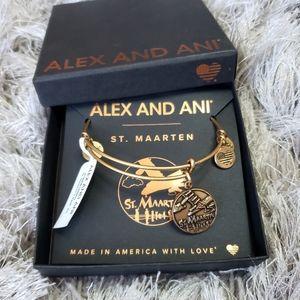 NIB Alex and Ani St.Maarten Airplane Gold Bracelet